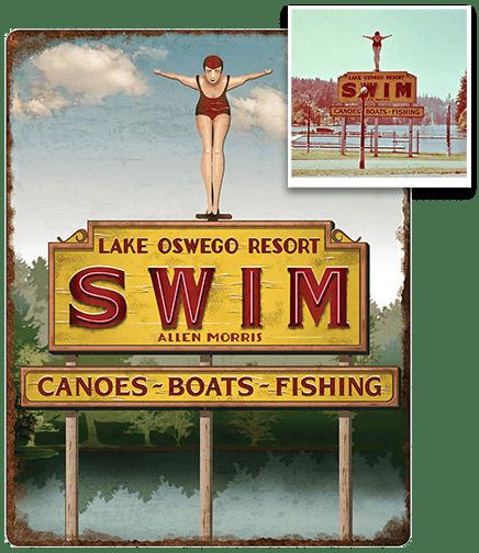 SWIM Lake Oswego Resort: metal sign