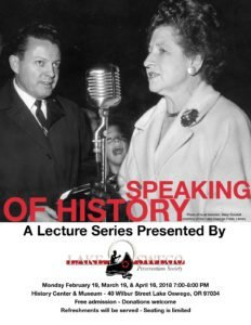 """""""Speaking of History"""" Lecture Series poster"""