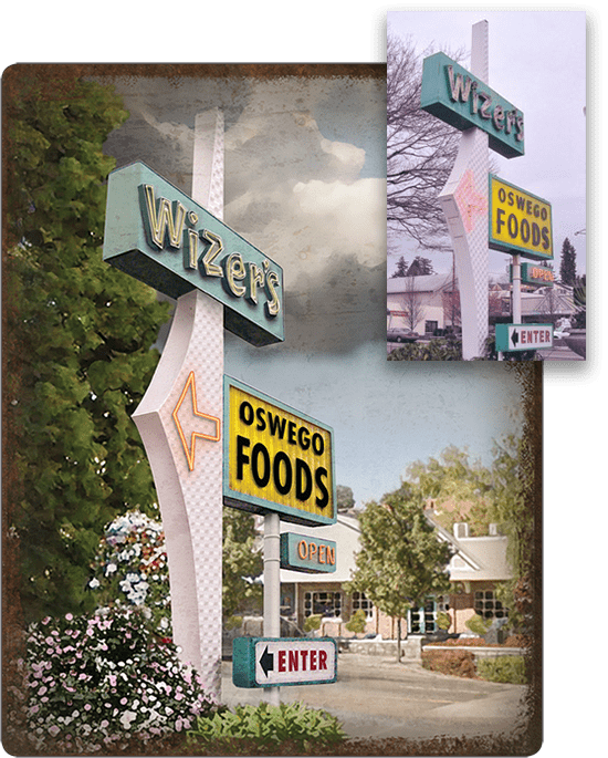Wizer's Food Sign with overlay photo