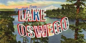 Greetings from Lake Oswego beach towel image