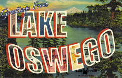 """Welcome to Lake Oswego"" postcard"