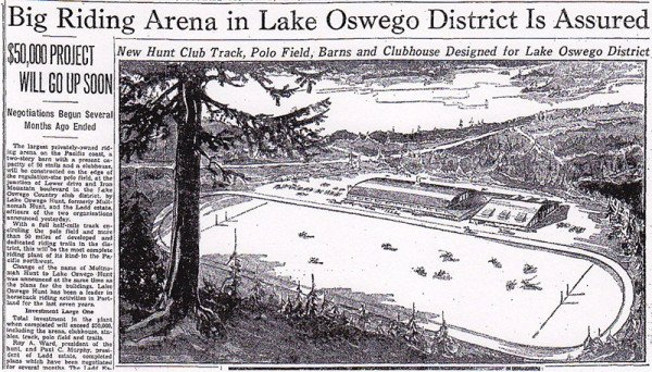 Article proclaiming the new Hunt Club to be built in Lake Oswego 1936
