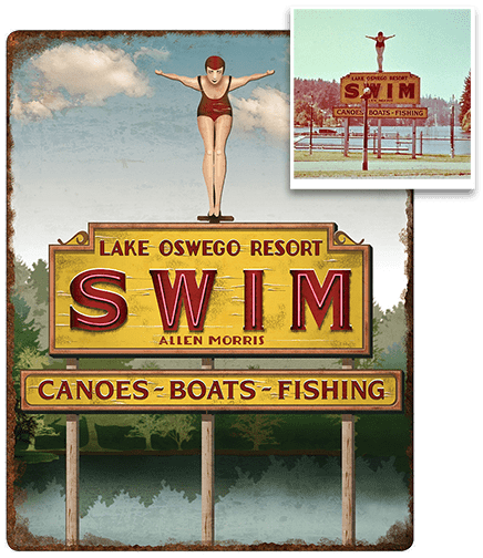 SWIM Lake Oswego Resort: metal sign
