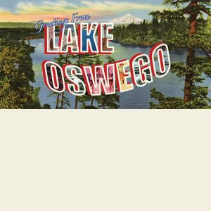 """Greetings From Lake Oswego"" Beach Towel"